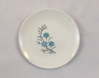Two Vintage Salad Plates with Turquoise and Pink flowers from 1960's