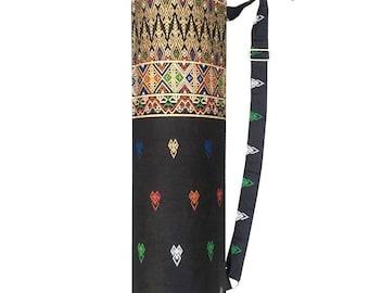 Handmade Thai Black and Gold Print Fabric Yoga And Pilates Mat Bag Carrier Strap
