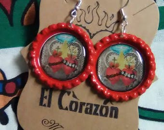 Red Sacred Heart Bottle Cap Earrings