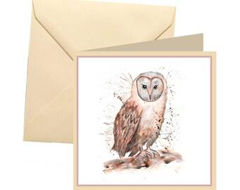 Owl greetings card, blank card, greetings card, birthday card, note card, thank you card, owl thank you card, owl card