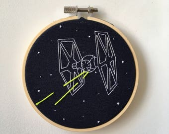 Star Wars Empire Tie Fighter Hand Embroidery