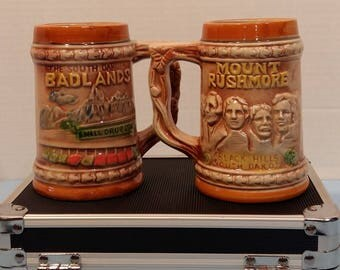 South Dakota Badlands Mount Rushmore Black Hills Steins Cup Mug 4.5 inches tall 2.4 inches opening 10 ounces
