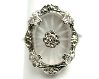 Vintage 1920s Art Deco Camphor Glass, Diamond Chip and Sterling Silver Starburst Flower Ring Size 4