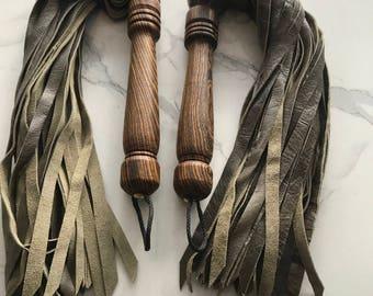 Set of Olive green anadile dragon cut leather flogger