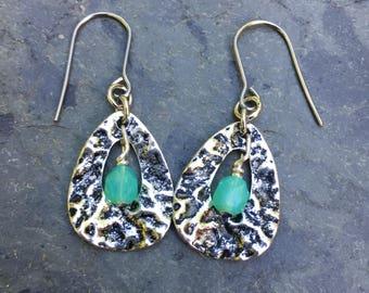 Silver Earrings, Boho Earrings, Hammered Metal Earrings, Dangle Earrings, Earrings