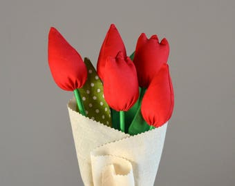 Red fabric tulips bouquet/ Flower bouquet/ Fabric flowers.