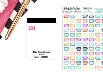 Multicolored or Black Mini Laundry Basket Icon Planner Stickers