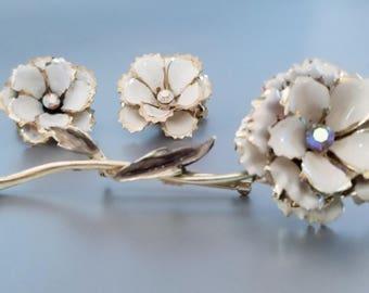 Large CORO Enamel Brooch Earrings Set AB
