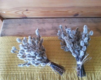 Easter decor Small pussy willow brunch Soft and cozy decor Natural bouquet gray brunch Rustic style decor Housewarming wedding table decor