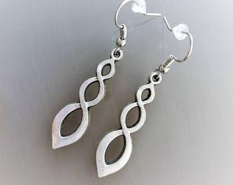 Silver color twist earrings