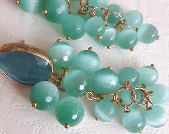 Cat eye gemstone earrings, cluster earrings, Italian jewellery