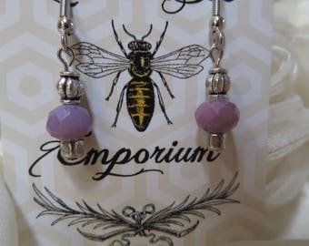 Lavender drop bead earrings with silver accents - silver sterling hooks