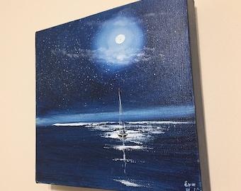 Night Painting, Moon Wall Art, Sailboat Ocean View, Gift for Him, Original Boat Oil Painting, Sailing Boat Artwork, Yacht Art, Full Moon