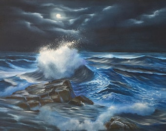 Full Moon over the Ocean Painting, Seascape, Natural Scenery, Coastal Landscape, Original Large Oil Painting on Canvas, Light in the Dark