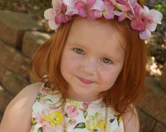 Flower crown / flower girl / boho flower crown / pink and light pink crown