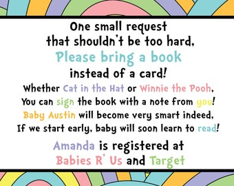 Baby Shower Book and Registry Card - Oh The Places You'll Go - Dr. Seuss