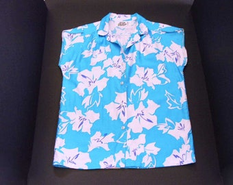 Women's Vintage Hawaiian Aloha Shirt By Hilo Hattie 70s Hawaiian Blouse Top Bright Turquoise With White Hibiscus Flowers Size 8 Medium