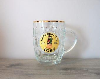 Vintage 80's  Charrington TOBY Glass Beer Mugs  Carling Beerfest 1984