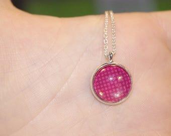 Pendant necklace pink glass cabochon