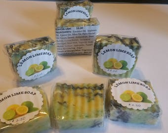 2. 2 oz Lemon Lime Soap Bars With Loads of Nourishing Oils and Butters, Goat Milk
