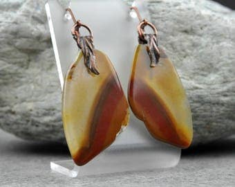 Red and Gold Agate Earrings