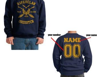 CHASER - Custom Back, Ravenc Quidditch team Chaser Yellow printed on Youth / Kids Crewneck Sweatshirt
