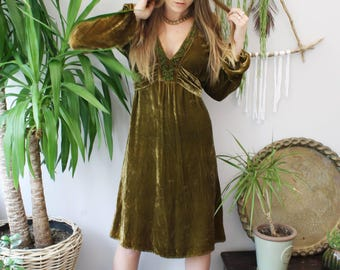 Vintage 1970s embroidered silk velvet bohemian dress.