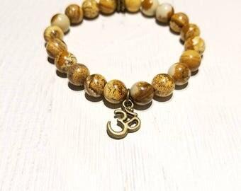 """Petrified Wood """"Om"""" Healing Bracelet"""