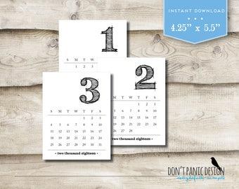 2018 Printable Desk Calendar - Rustic Large Number Monthly Desk Calendar - 12 Month Desk Calendar - Fun Calendar - Instant Download