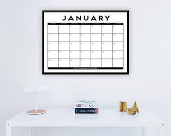 """Large 2018 Printable 12 Month Calendar - 16"""" x 20"""" Office Home Calendar -  Modern, Art Deco Wall Calendar - 2018 Instant Download Calendar"""