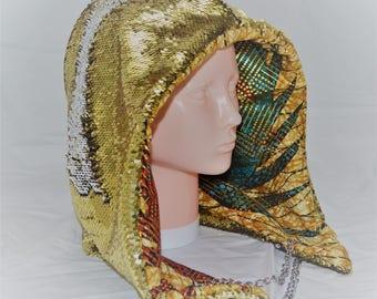 Gold and Silver Reversible Sequin Rave hood/ Festival hood/ Burning Man hood/ Spirit hood / Shambhala hood