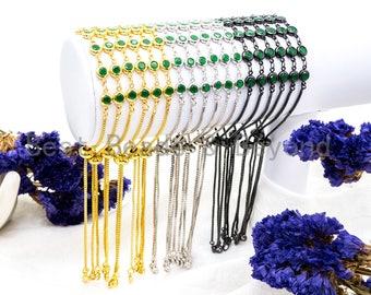 Adjustable Chain Bracelet, 6mm Green Jade beaded bracelet, thin link bracelet, evil eye bracelet, Silver Gold Gunmetal bracelet, SKU#A49