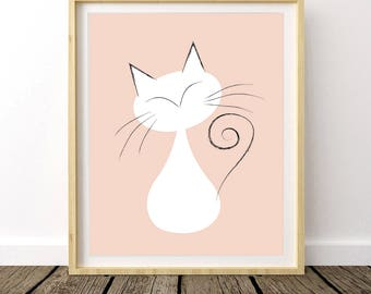 Nursery Art, Girl Nursery, Nursery Prints, Nursery Decor, Baby Girl, Baby Decor, Cat Print, Cat Drawing, Cat Poster, Cat Art, Digital Print