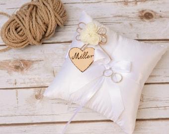 Wedding Ring Pillow Cushion Rustic Ring Bearer Satin Personalized Ring Holder Bearer ring pillow