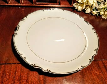 "Mikasa Marlboro Chop Plate 12"" Round with Scalloped Edge Platinum on White"