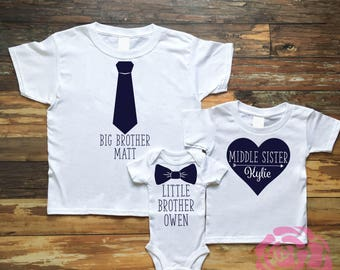 Big Brother Shirt, Middle Sister Shirt, Little Brother Shirt, 3 Sibling Shirt Set, 3 Sibling Shirts, Sibling Shirt Set, Sibling Shirts