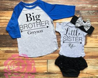 Big Brother Little Sister Shirt Set, Sibling Shirts, Big Brother Little Sister Shirts, 2 Sibling Shirts, Sibling Baseball Shirt