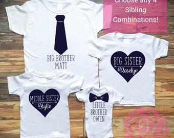 4 Sibling Shirt Set, Big Sister Shirt, Big Brother Shirt, Middle Brother Shirt, Little Brother Shirt, Little Sister Shirt, Sibling Shirt Set