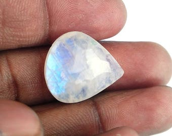 50% Off Christmas Offer Rainbow Moonstone Gemstone,,cabochon, faceted, shape pear, 15.40ct, 20x18x6mm, AM45