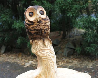 Owl Wood sculpture, chainsaw carving, wood carving Owl from Japanese Cedar