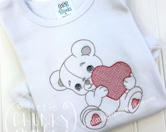 Girl Outfit - Girl Valentine Bodysuit - Bear with Heart Shirt