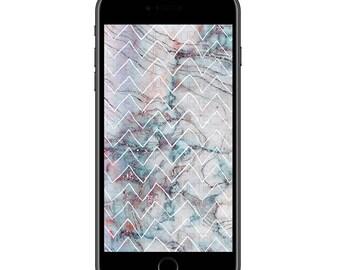 Marble & Chevrons Phone Wallpaper