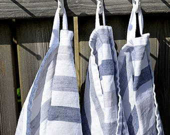 Stonewashed striped linen towel - Thick hand/gueat/tea natural washed linen towels - Pure white with blue stripes towel
