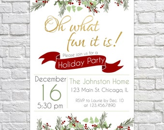 Handmade dinner party invitation etsy printable christmas party invitation christmas invitation christmas invites dinner party invitation holiday stopboris Image collections