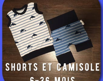 Ensemble camisole et shorts évolutifs 6-36 mois / Grow-with-me set tank and shorts