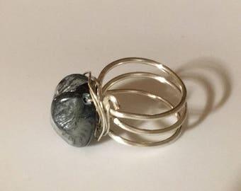 Sapphire Sea Shell Silver wire wrap ring