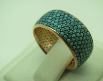 925 Sterling Silver Turquoise Stone Women Ring