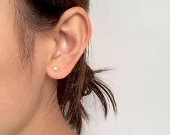 Tiny diamond stud earrings, simple earrings, cute earrings