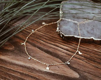 Charm necklace, Gold charm necklace, CZ crystal charm necklace, Tiny moon charm necklace, Tiny star charm necklace, Choker, Choker necklace