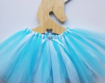 Girls fairy tutu skirt ~ Sz 3-5 - Daydream. Blue and white frozen ice colours.